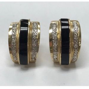 Jewelry - 14k Gold Black Onyx .96 CTW Diamond Earrings
